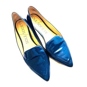 Sole Society patent blue loafers